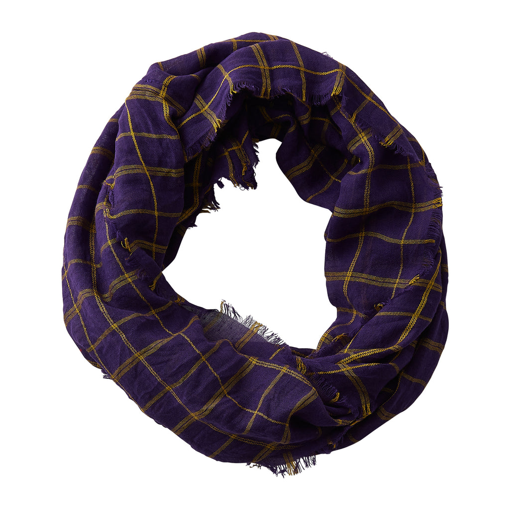 Lightweight Plaid Infinity - Purple Gold - Tickled Pink Wholesale