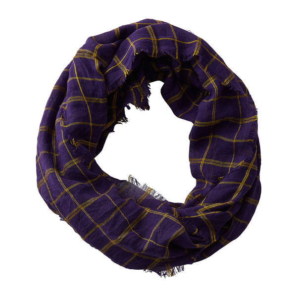 Wholesale Boutique Gifts - Lightweight Plaid Infinity - Purple Gold - Tickled Pink