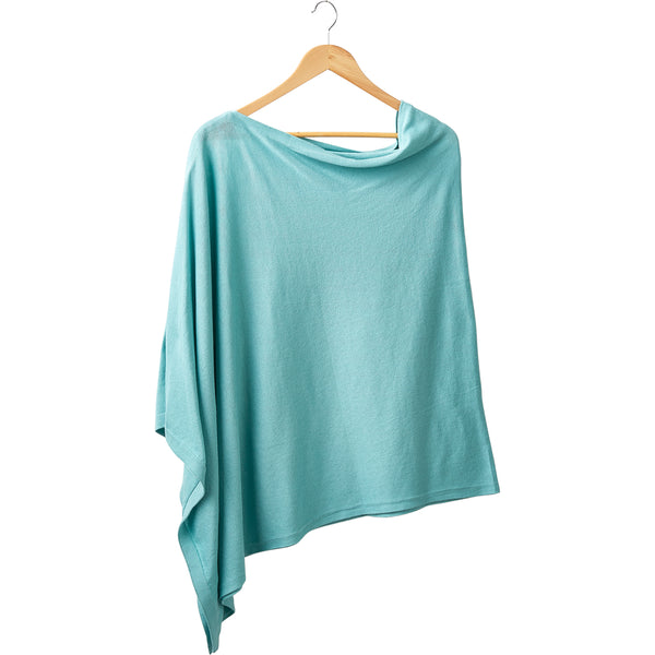 Wholesale Boutique Gifts - Elegant Solid Cotton Poncho - Aqua - Tickled Pink