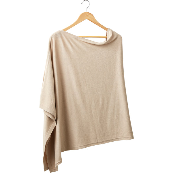 Elegant Solid Cotton Poncho - Beige - Tickled Pink Wholesale