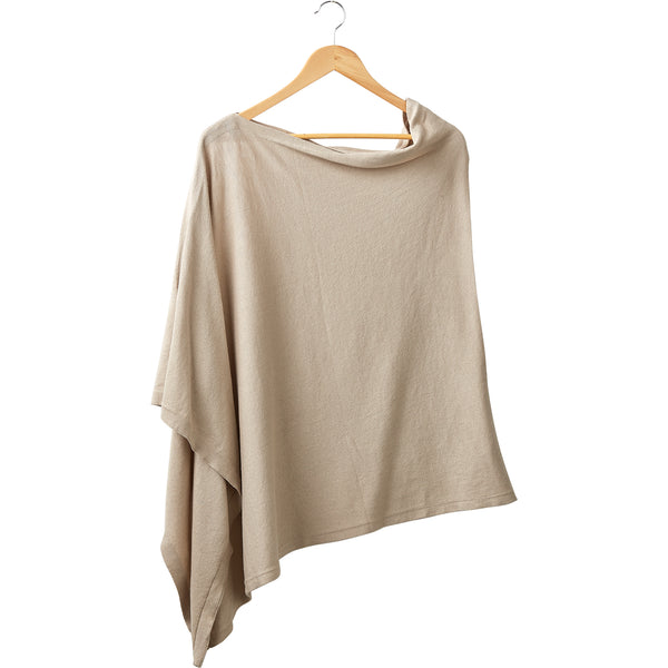 Wholesale Boutique Gifts - Elegant Solid Cotton Poncho - Light Brown - Tickled Pink