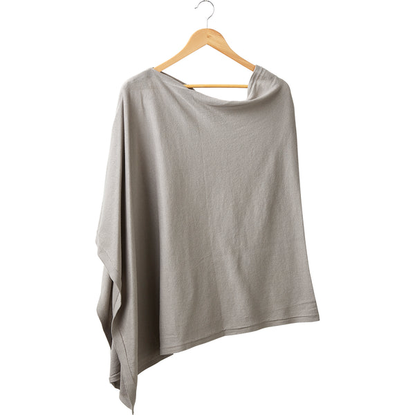 Elegant Solid Cotton Poncho - Light Gray - Tickled Pink Wholesale