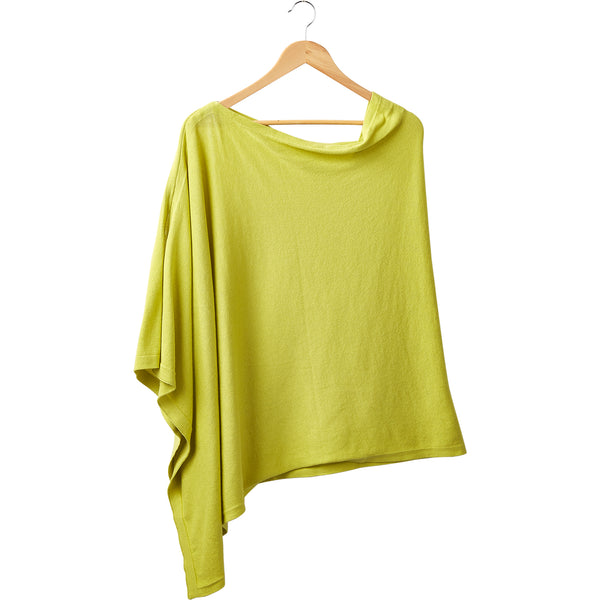Wholesale Boutique Gifts - Elegant Solid Cotton Poncho - Lime - Tickled Pink