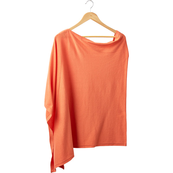 Wholesale Boutique Gifts - Elegant Solid Cotton Poncho - Orange - Tickled Pink