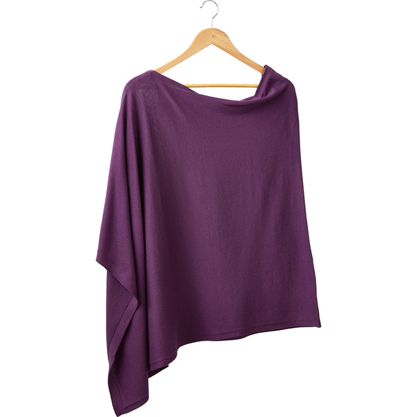 Wholesale Boutique Gifts - Elegant Solid Cotton Poncho - Purple - Tickled Pink