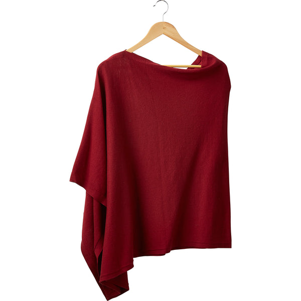 Wholesale Boutique Gifts - Elegant Solid Cotton Poncho - Red - Tickled Pink