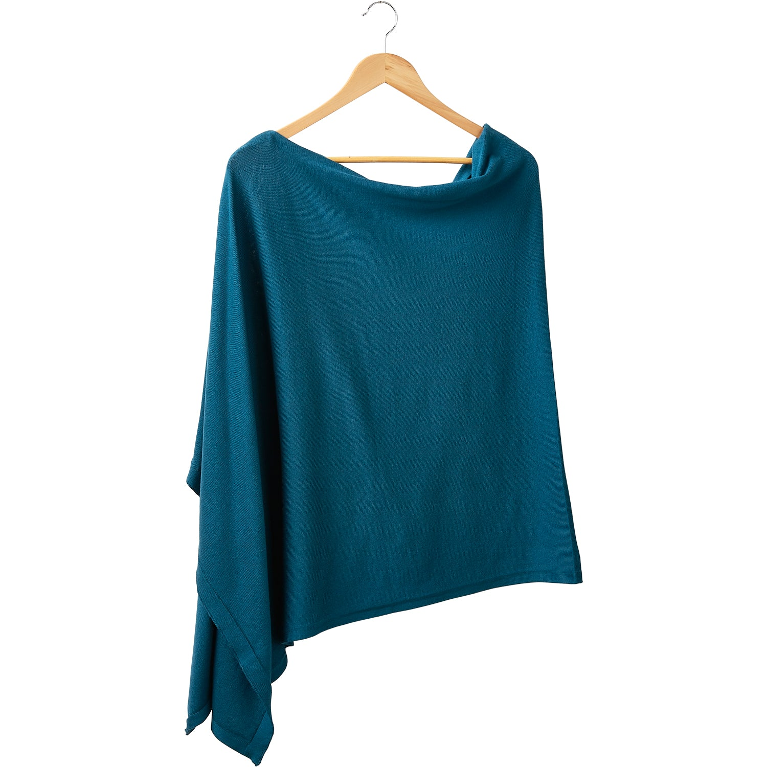 Elegant Solid Cotton Poncho - Teal