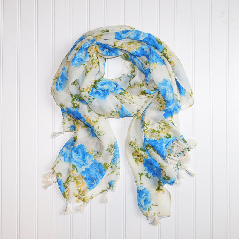 Romantic Roses Scarf - Blue - Tickled Pink Wholesale