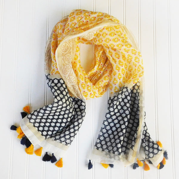 Wholesale Scarves - Sabeena Tassels Scarf - Yellow - Tickled Pink