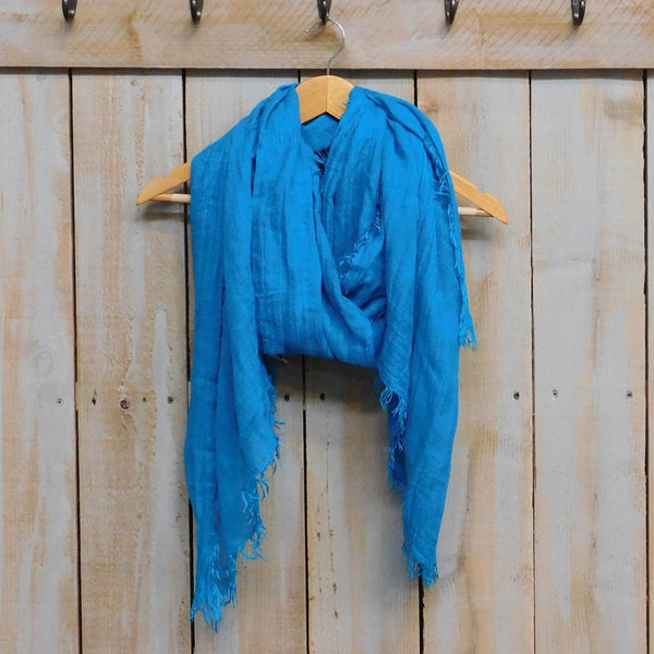 Wholesale Scarves - Classic Feather Fringe Solid - Turquoise - Tickled Pink