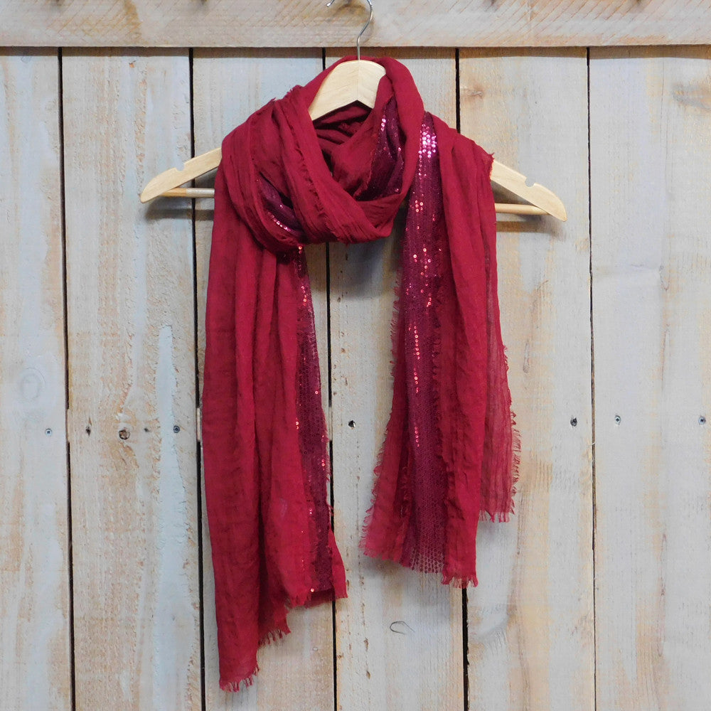 Wholesale Scarves - Feather Fringed Sparkle Stripe - Red - Tickled Pink