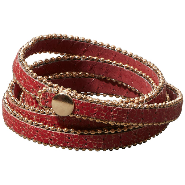 Long Faux Leather Wrap - Red
