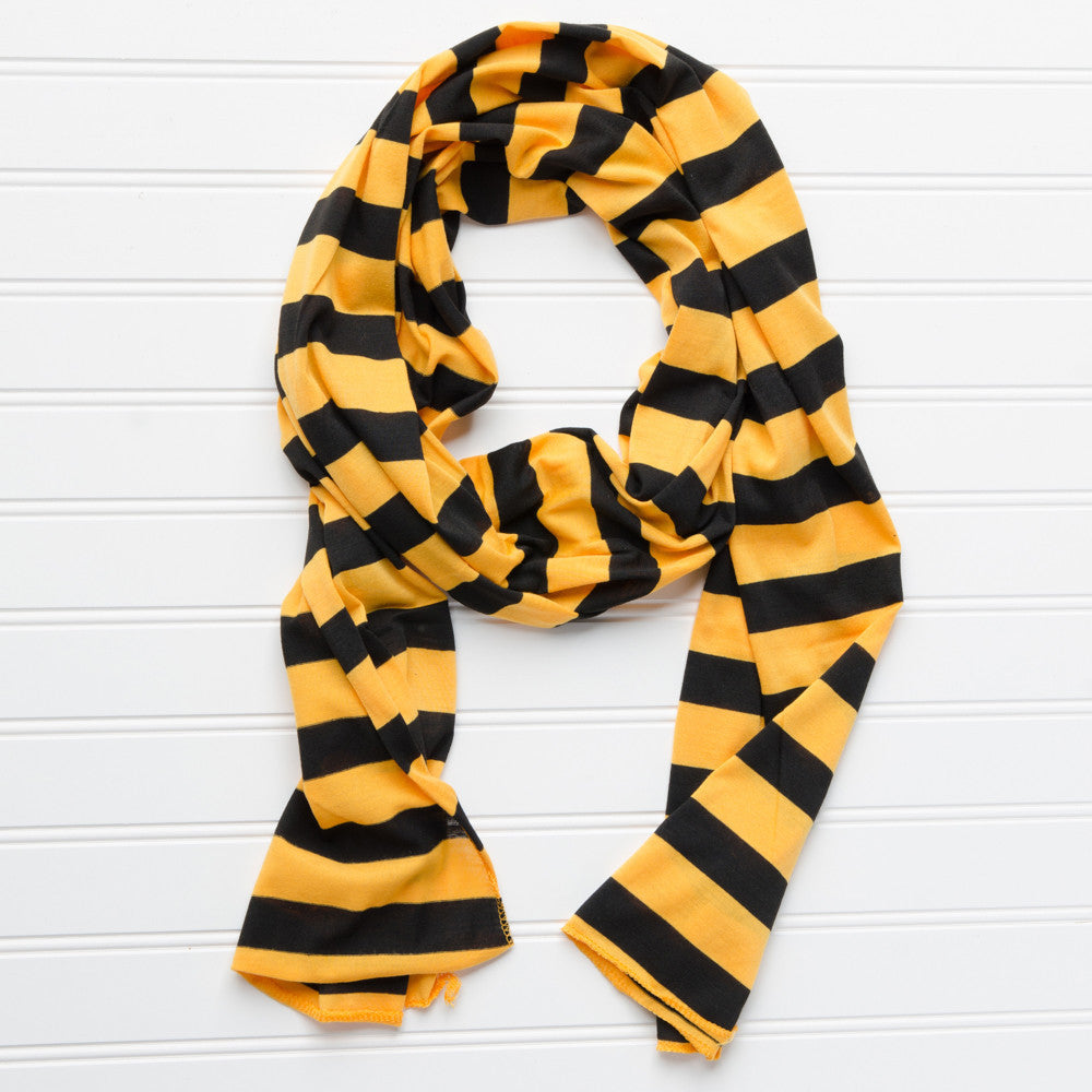Wholesale Scarves - Jersey Striped Scarf - Black - Gold - Tickled Pink