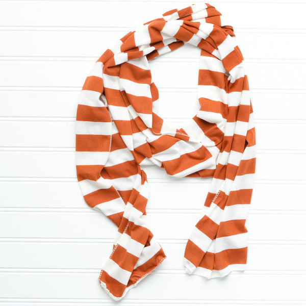 Wholesale Scarves - Jersey Striped Scarf - Burnt Orange - Tickled Pink