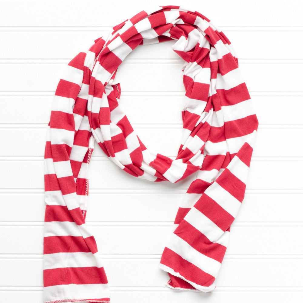Wholesale Scarves - Jersey Striped Scarf - Crimson - White - Tickled Pink