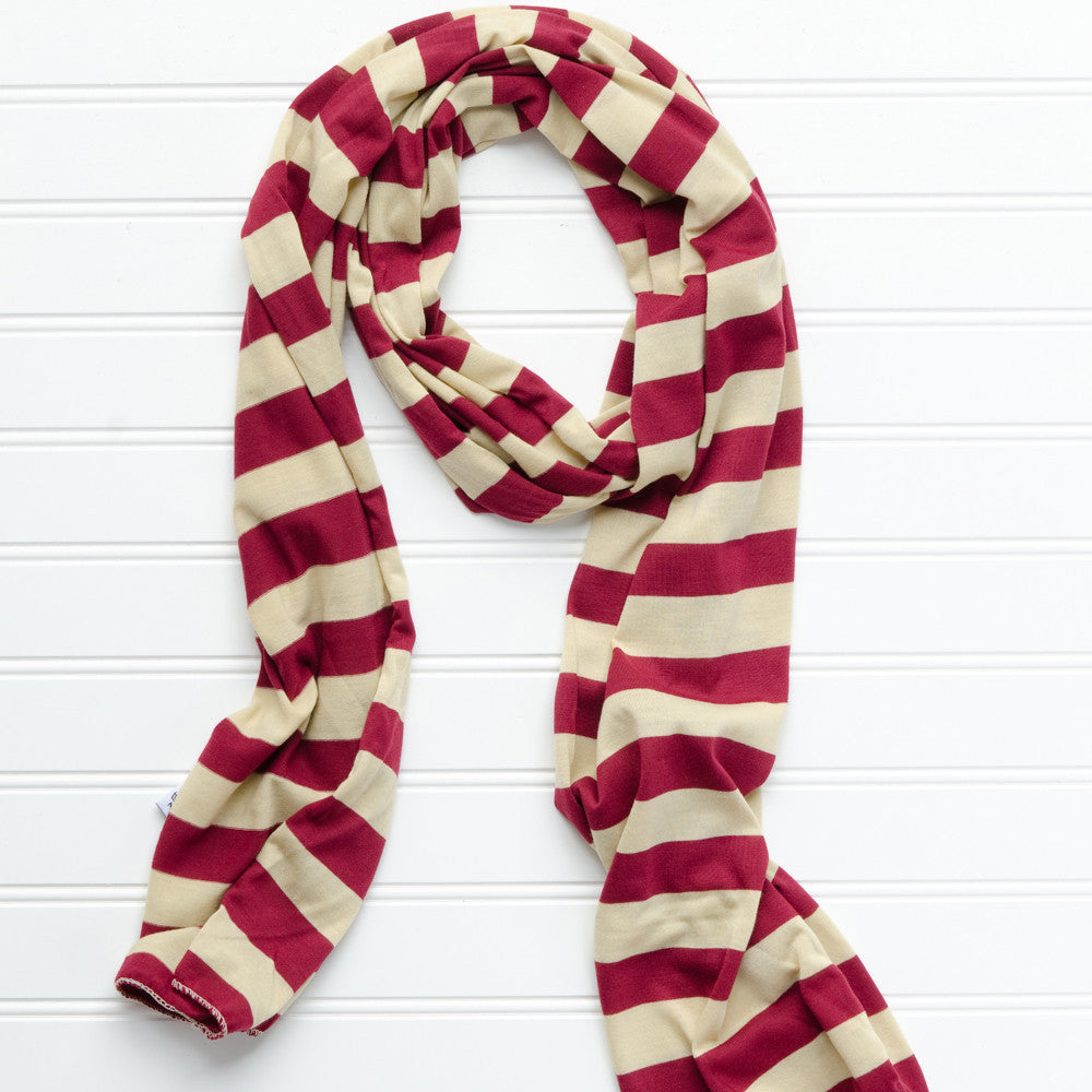 Jersey Striped Scarf - Garnet Gold - Tickled Pink Wholesale
