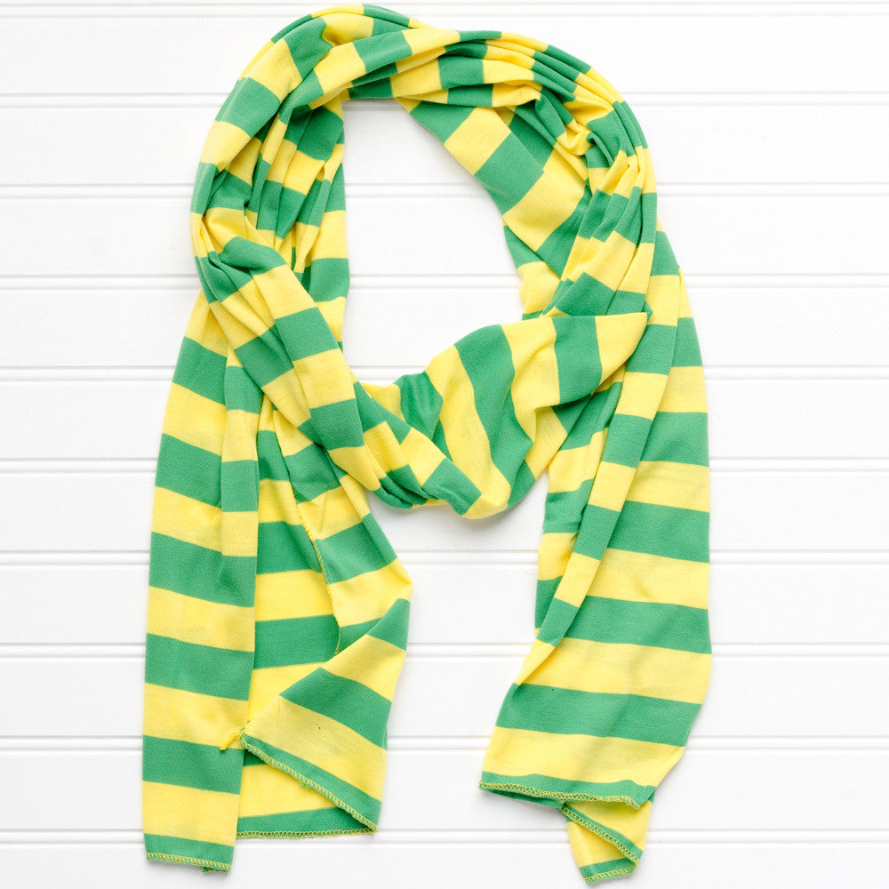 Wholesale Scarves - Jersey Striped Scarf - Green Yellow - Tickled Pink