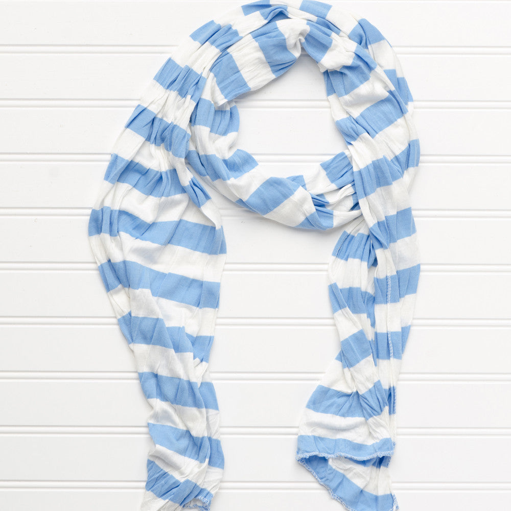 Wholesale Scarves - Jersey Striped Scarf - Light Blue/White - Tickled Pink