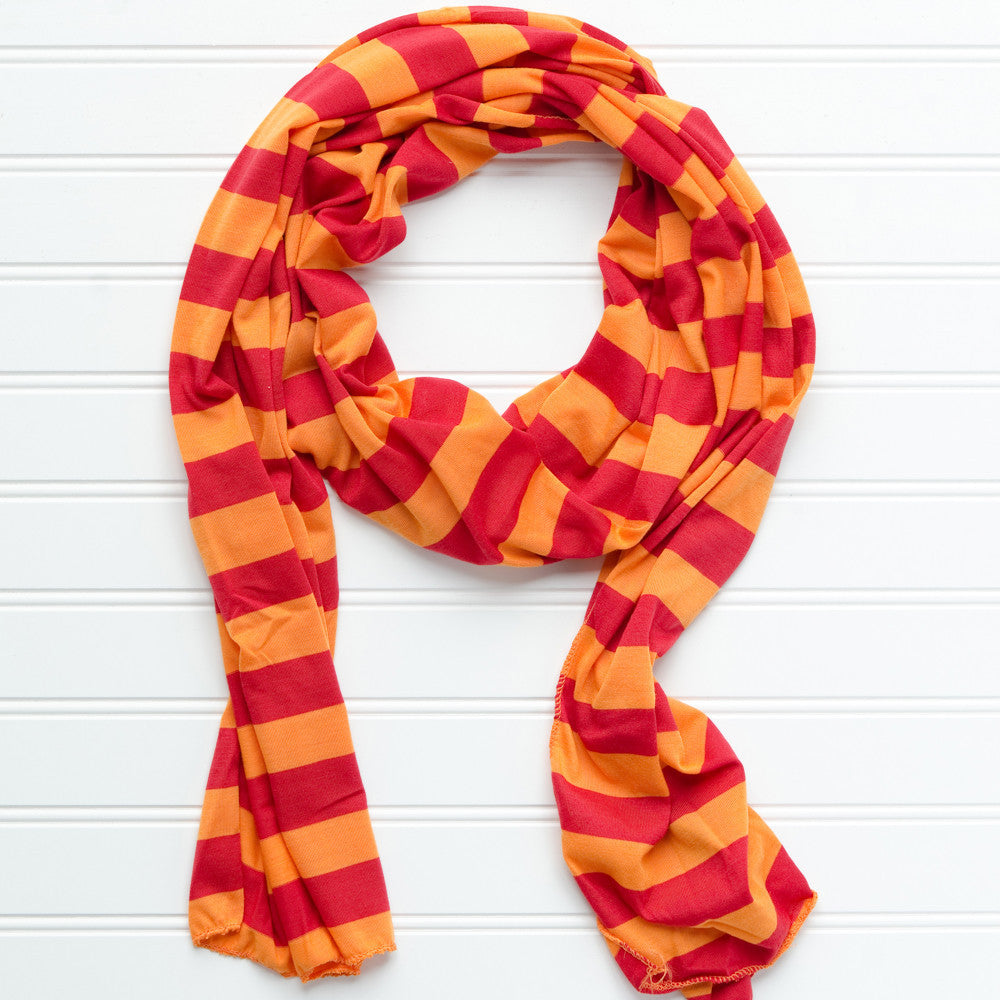 Wholesale Scarves - Jersey Striped Scarf - Maroon - Orange - Tickled Pink