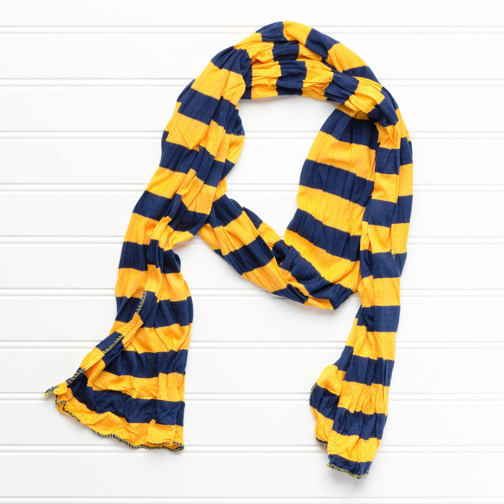 Wholesale Scarves - Jersey Striped Scarf - Gold/Navy Blue - Tickled Pink