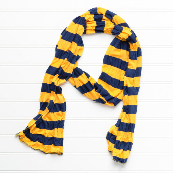 Jersey Striped Scarf - Gold/Navy Blue - Tickled Pink Wholesale