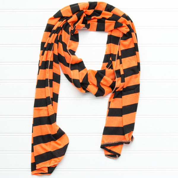 Wholesale Scarves - Jersey Striped Scarf - Orange - Black - Tickled Pink
