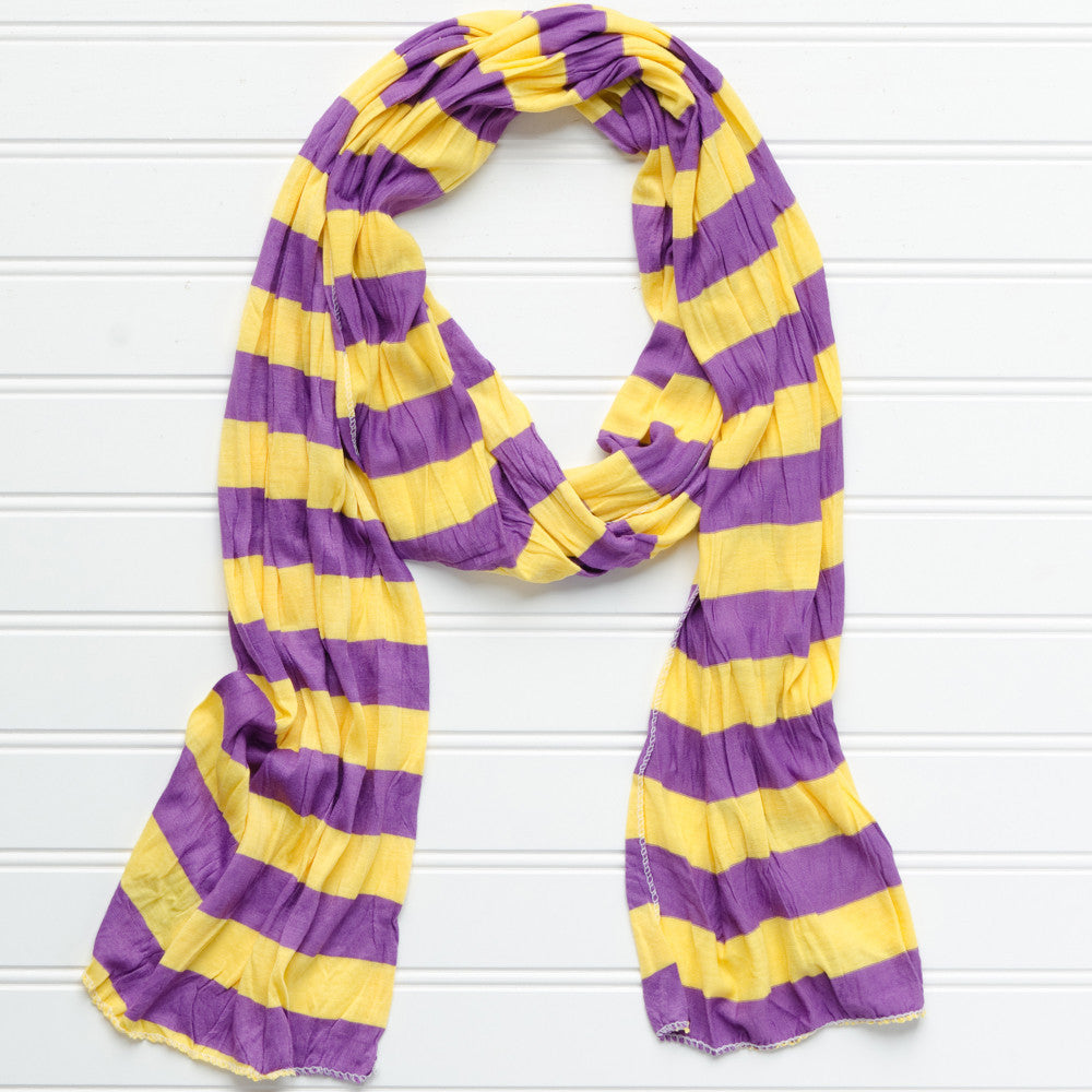 Jersey Striped Scarf - Purple - Gold - Tickled Pink Wholesale