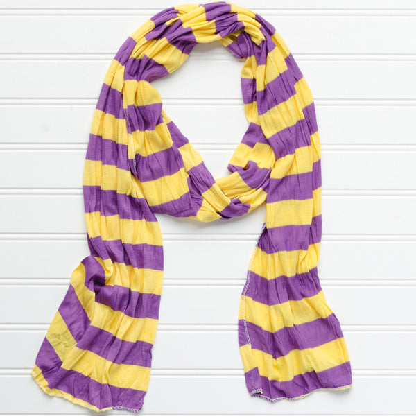 Wholesale Scarves - Jersey Striped Scarf - Purple - Gold - Tickled Pink