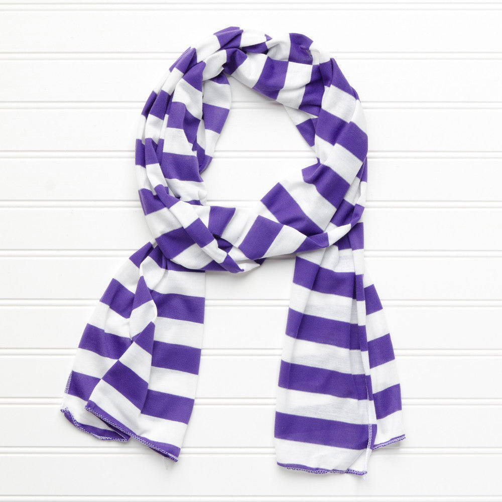 Wholesale Scarves - Jersey Striped Scarf - Purple - Tickled Pink