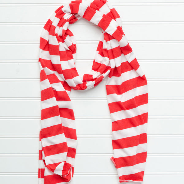 Wholesale Scarves - Jersey Striped Scarf - Red - White - Tickled Pink