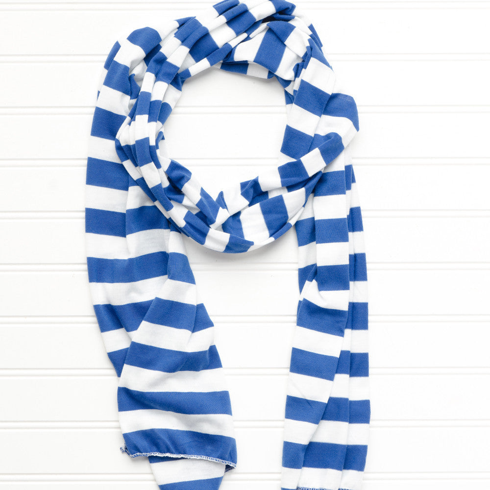 Wholesale Scarves - Jersey Striped Scarf - Royal Blue/White - Tickled Pink