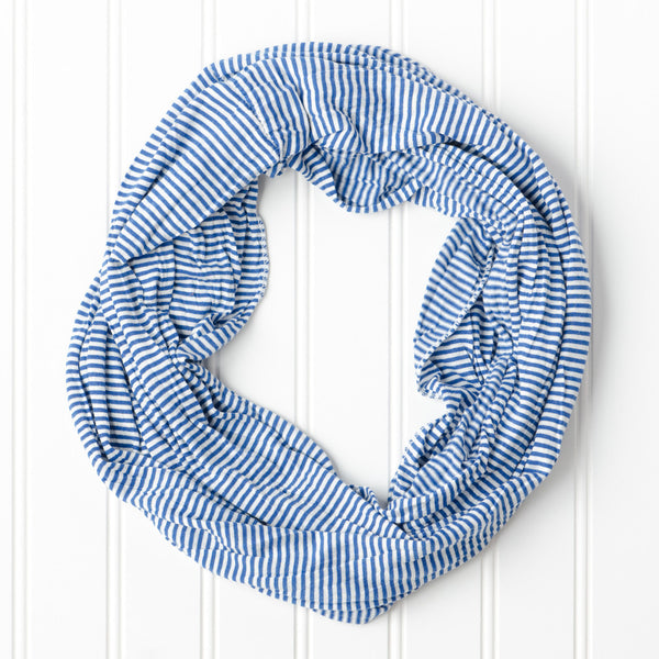 Wholesale Scarves - Tiny Stripes Infinity - Royal Blue/White - Tickled Pink