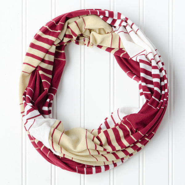 Wholesale Scarves - Striped T-Shirt Infinity - Garnet Gold - Tickled Pink
