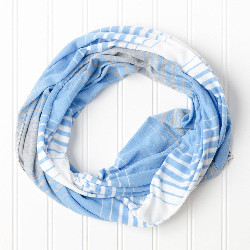 Wholesale Scarves - Striped T-Shirt Infinity - Light Blue - Tickled Pink