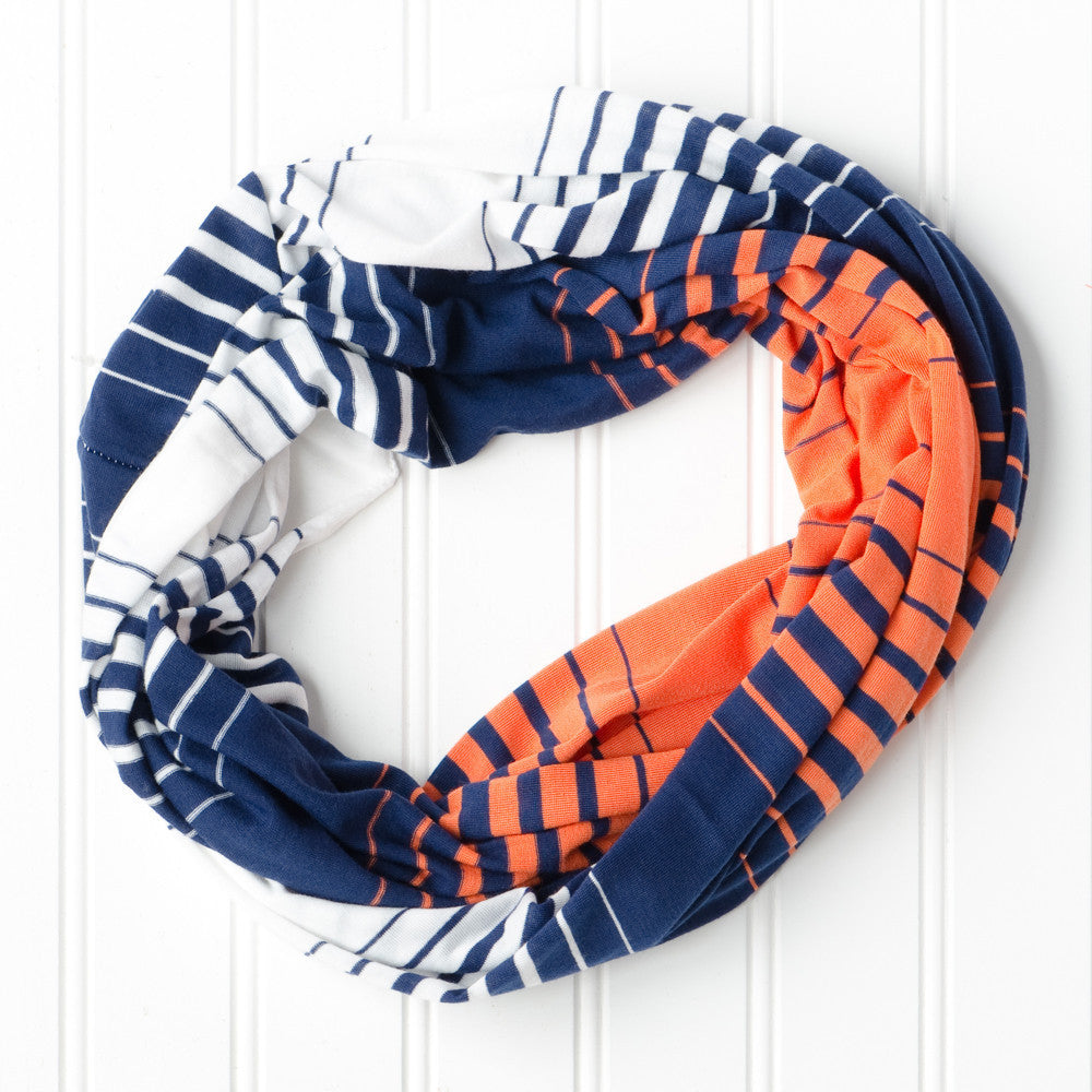Wholesale Scarves - Striped T-Shirt Infinity - Navy Orange - Tickled Pink