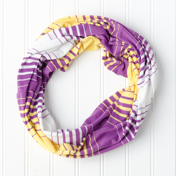 Wholesale Scarves - Striped T-Shirt Infinity - Purple Gold - Tickled Pink