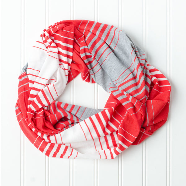 Wholesale Scarves - Striped T-Shirt Infinity - Red - Tickled Pink