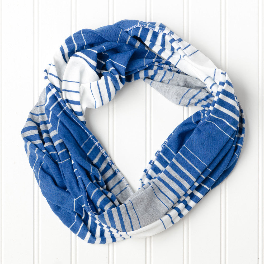 Wholesale Scarves - Striped T-Shirt Infinity - Royal Blue - Tickled Pink