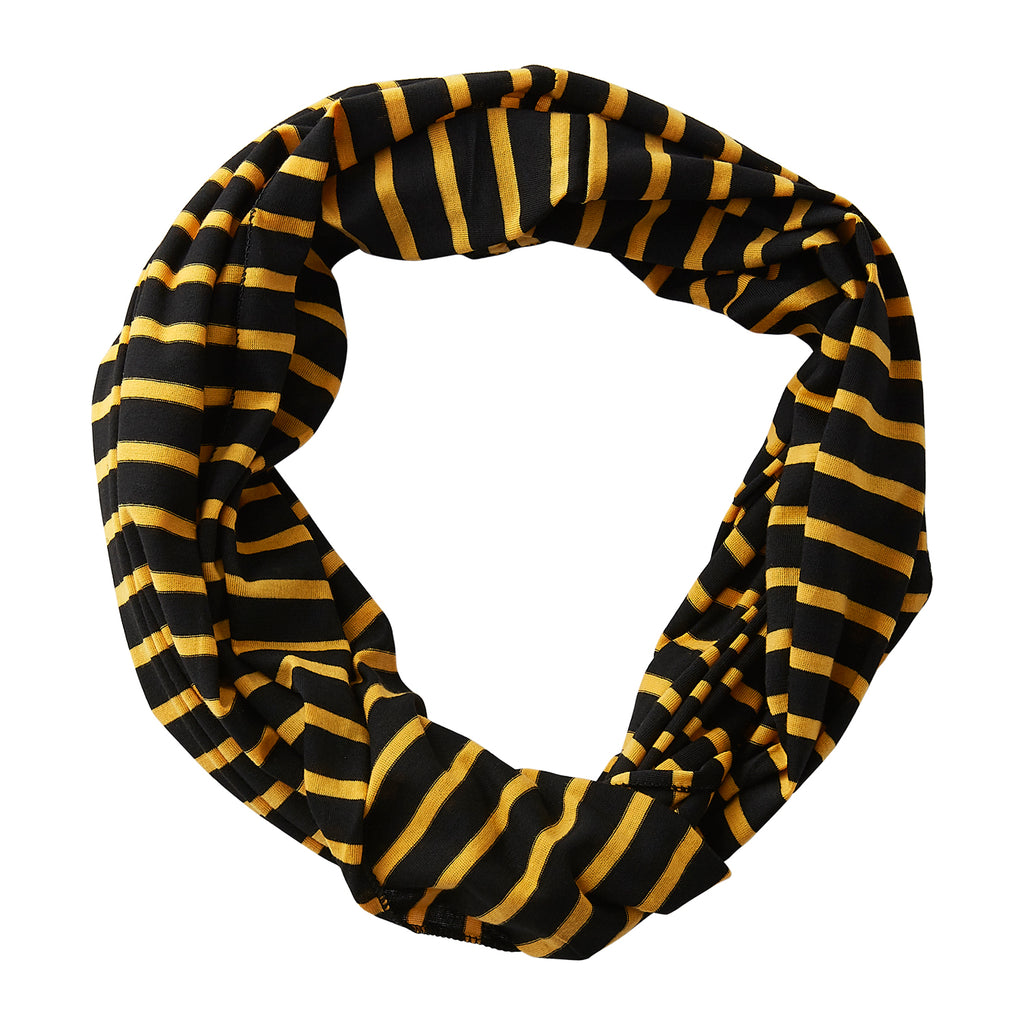 Wholesale Boutique Gifts - Striped Sport Infinity - Black Athletic Gold - Tickled Pink