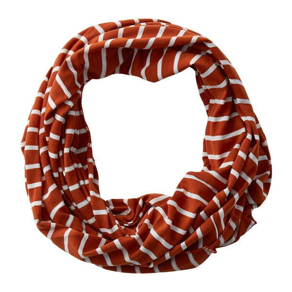 Wholesale Boutique Gifts - Striped Sport Infinity - Burnt Orange - Tickled Pink
