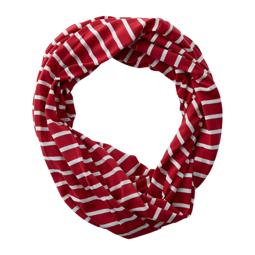 Wholesale Boutique Gifts - Striped Sport Infinity - Crimson - Tickled Pink
