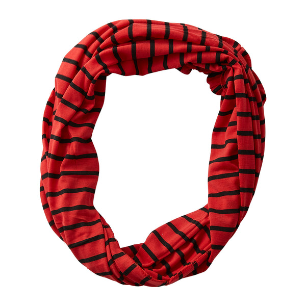 Wholesale Boutique Gifts - Striped Sport Infinity - Red Black - Tickled Pink