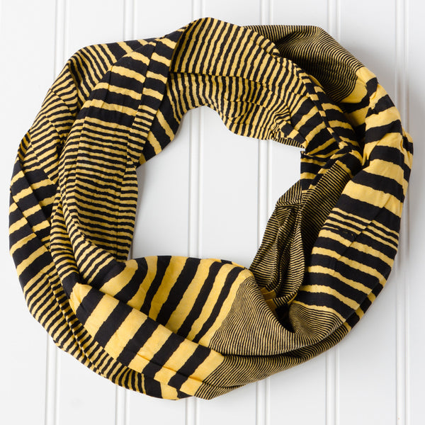 Wholesale Scarves - Varied Stripes Infinity - BlackGold - Tickled Pink