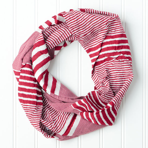 Varied Stripes Infinity - Crimson - Tickled Pink Wholesale