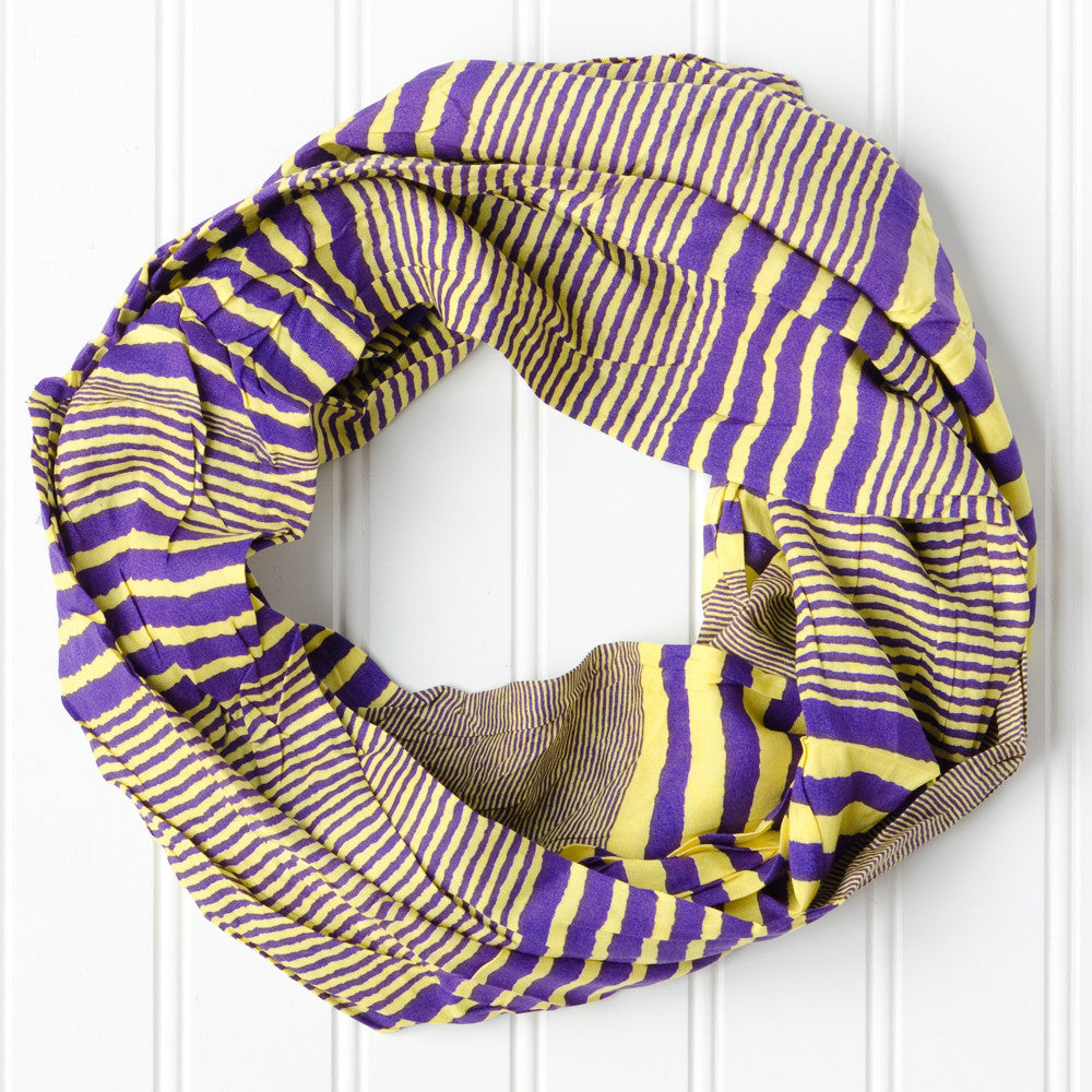 Wholesale Scarves - Varied Stripes Infinity - PurpleGold - Tickled Pink
