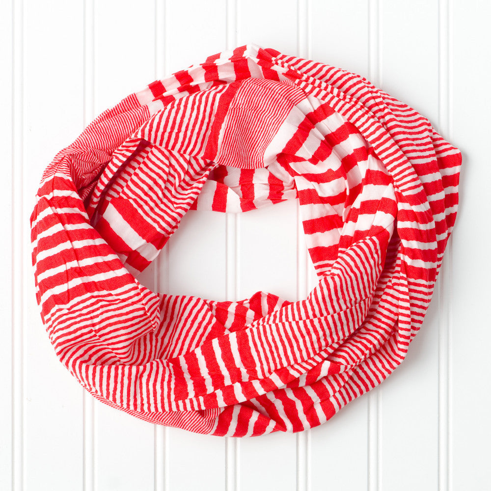 Wholesale Scarves - Varied Stripes Infinity - Red - Tickled Pink