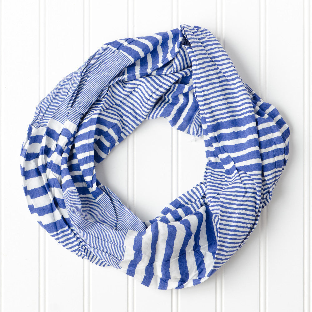 Wholesale Scarves - Varied Stripes Infinity - Royal - Tickled Pink