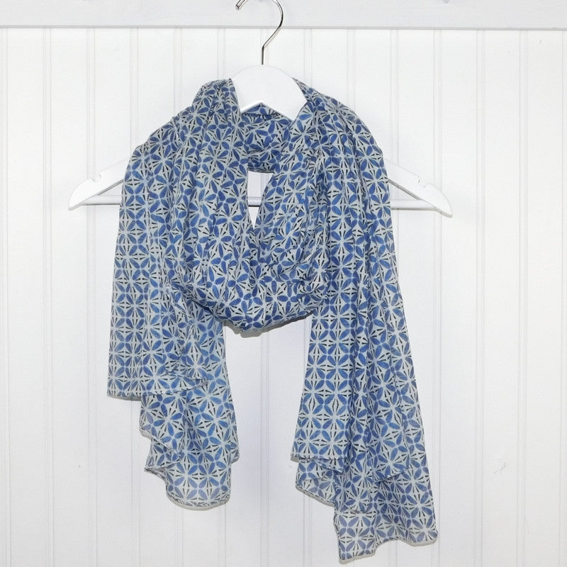 Wholesale Scarves - Diamond Tesselations Scarf - Blue - Tickled Pink