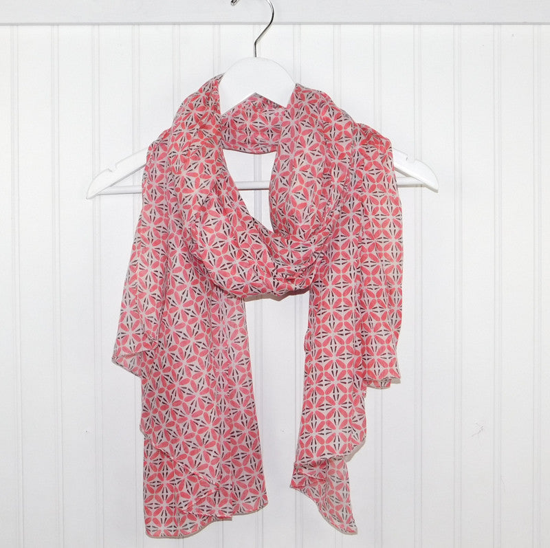 Wholesale Scarves - Diamond Tesselations Scarf - Coral - Tickled Pink