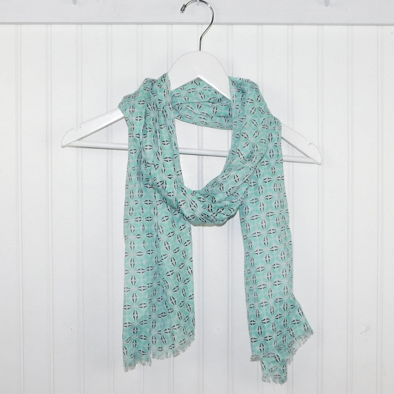Wholesale Scarves - Diamond Tesselations Scarf - Seafoam - Tickled Pink